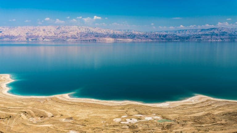 Panoramic View of the Dead Sea and Moab Mountains